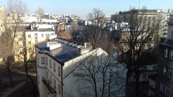Widok z okna na Warszawę