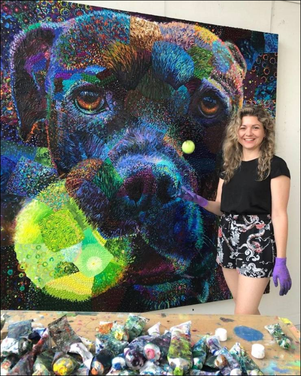 Psy malowane palcami